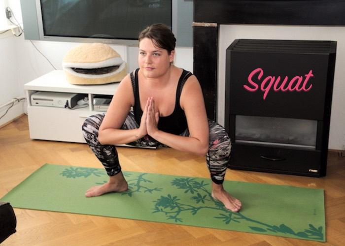 Squat pose yoga lage rugpijn