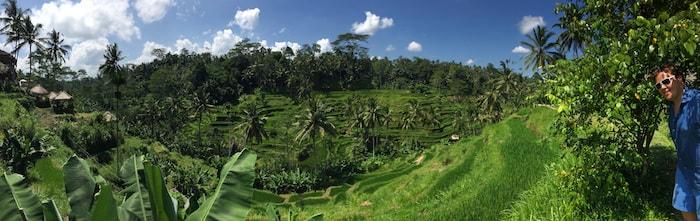 Jan in de rijstvelden van Bali